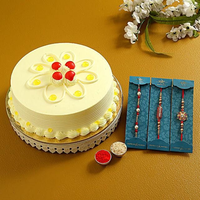 3 Ethnic Rakhis N Butterscotch Cake