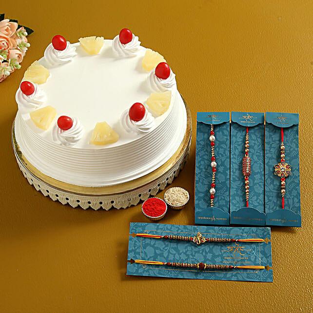 3 Pretty Rakhis N Pineapple Cake