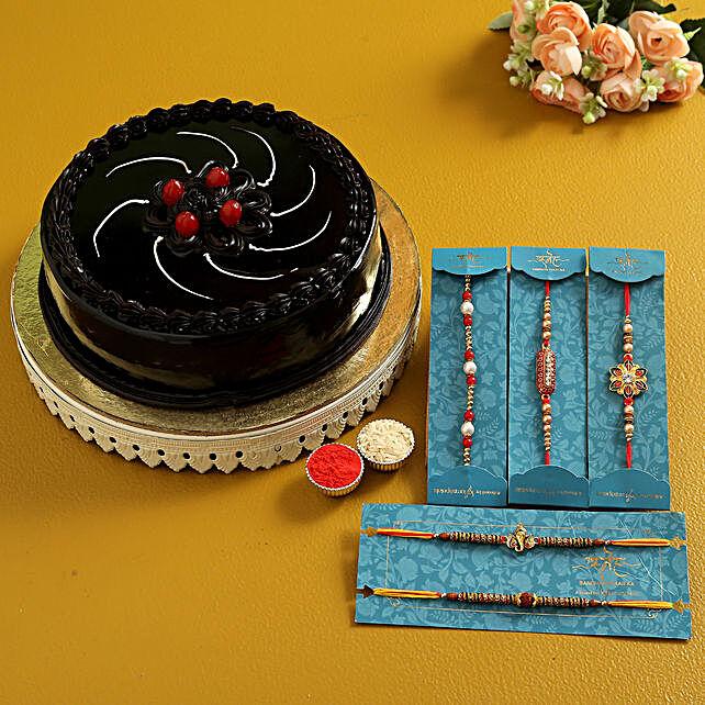 5 Ethnic Rakhis N Truffle Cake