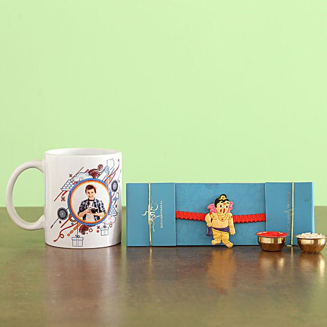 Bal Ganesha Rakhi N Personalised Mug Hand Delivery:Send Cartoon Rakhi