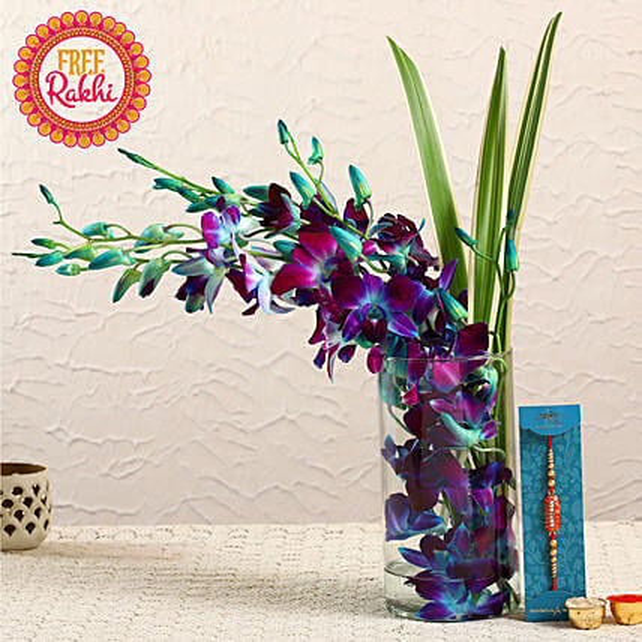 Free Designer Rakhi With Blue Orchids Vase