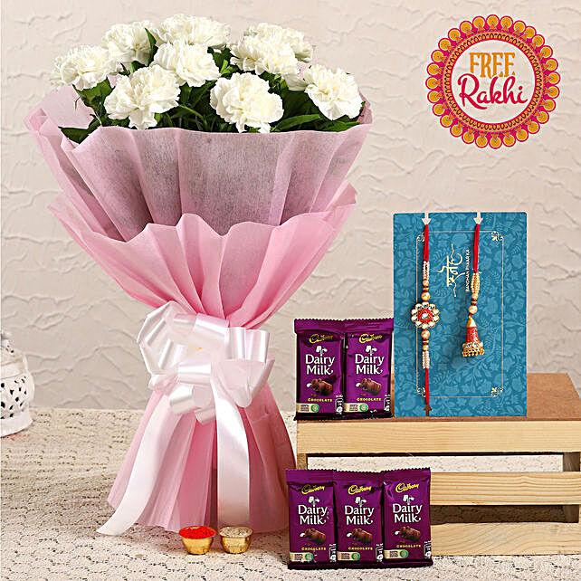 Free Lumba Rakhi Set With Carnations and Dairy Milk:Send Rakhi With Flowers