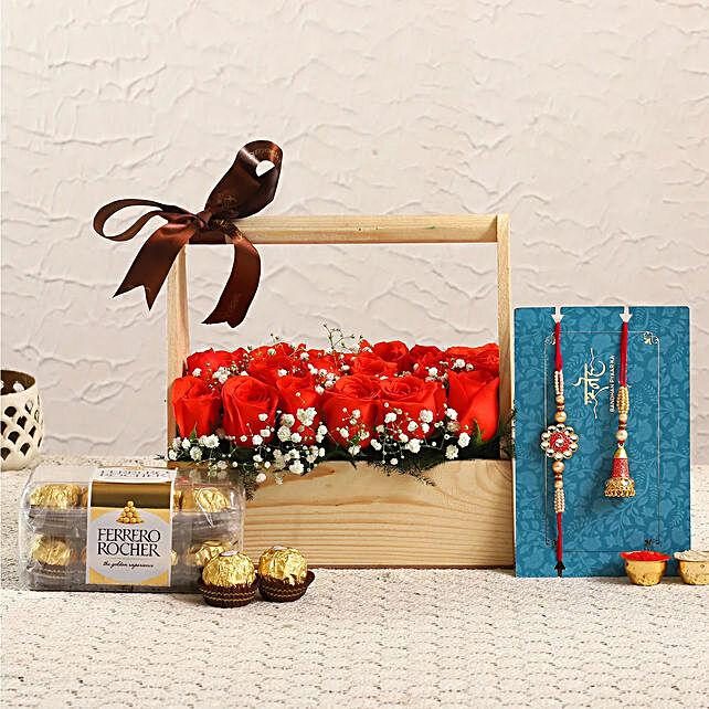 Free Lumba Rakhi Set With Roses Box and Ferrero Rochers
