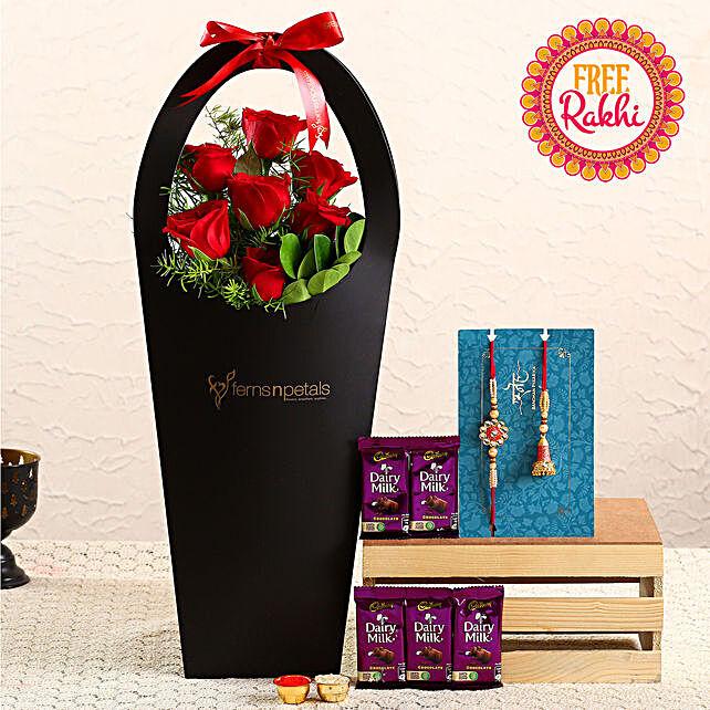 Free Lumba Rakhi Set With Roses Sleeve and Dairy Milk