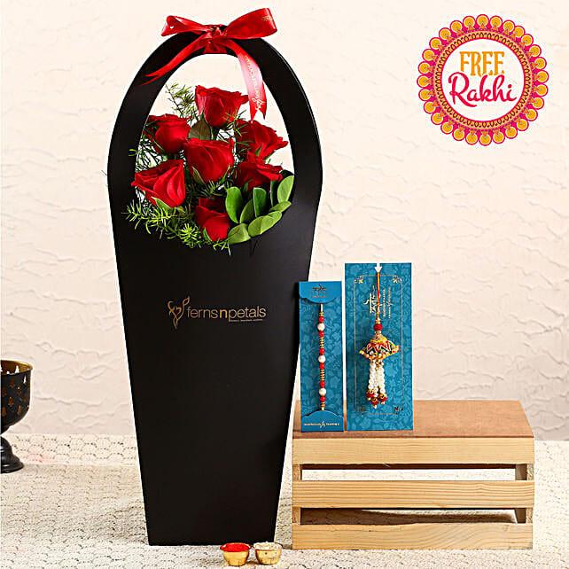 Free Pearl Lumba Rakhi Set With Roses In FNP Sleeve