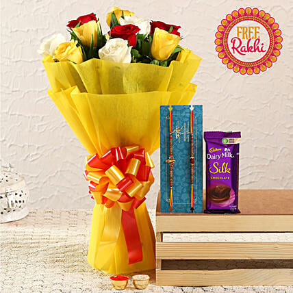 Free Set of Holy Rakhi With Mixed Roses Bunch and Silk