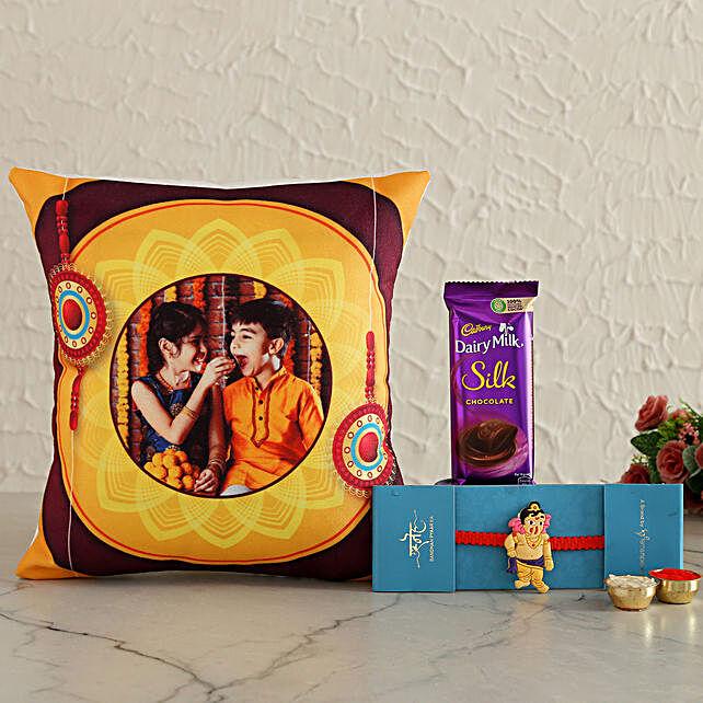 Ganesha Rakhi N Photo Cushion With Silk Hand Delivery:Cartoon Rakhi