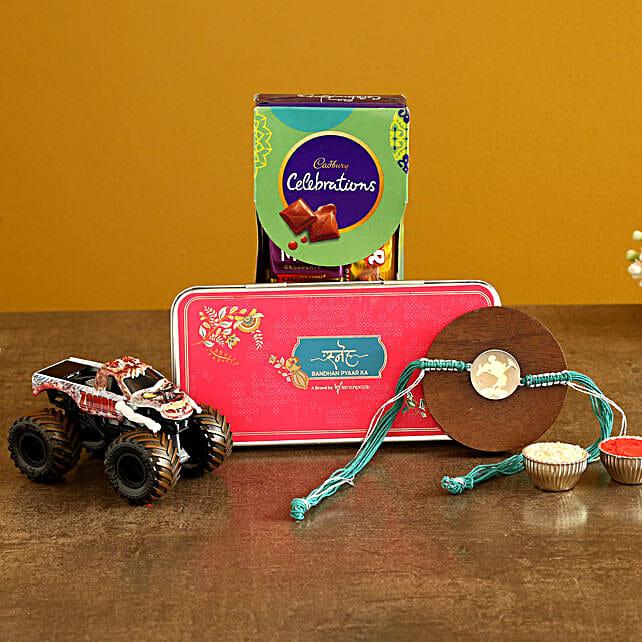 Mickey Rakhi N Monster Jam Zombie Set With Chocolates