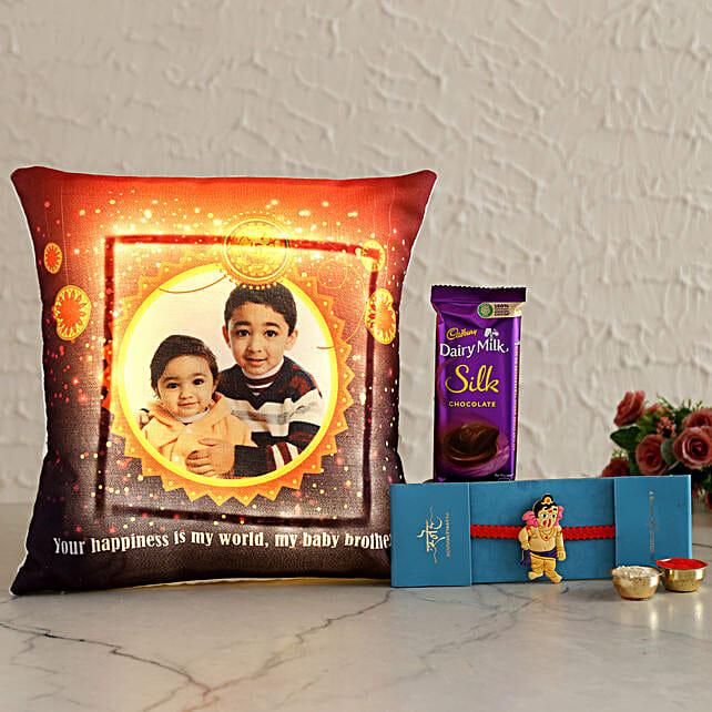 Personalised Cushion N Rakhi With Silk Hand Delivery:Cartoon Rakhi