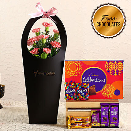 Pink Carnations In FNP Sleeve & Free Chocolates