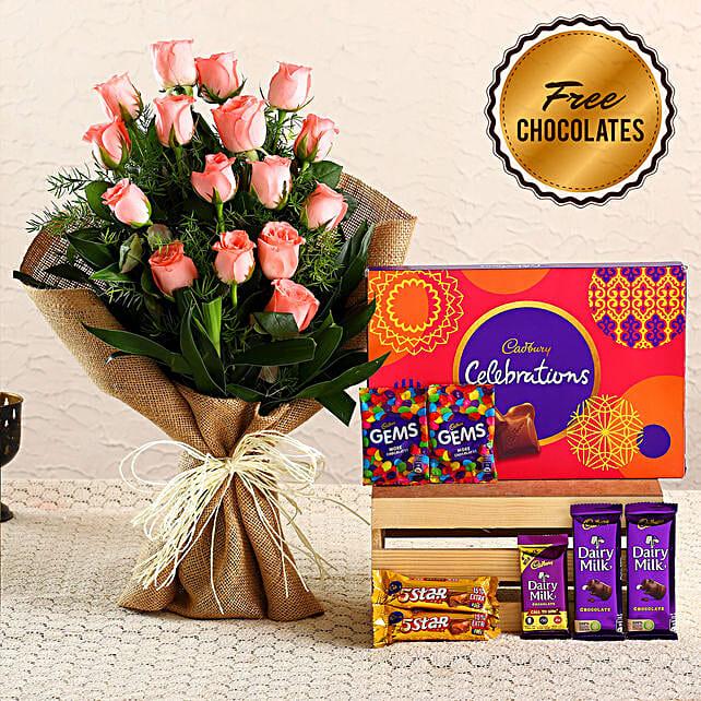 Striking Pink Roses Bouquet & Free Chocolates