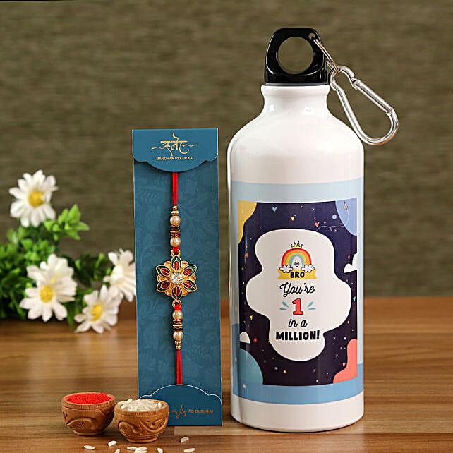 One In A Million Bro Bottle & Meenakari Rakhi