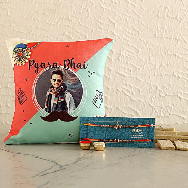 2 Divine Rakhis & Personalised Cushion With Kaju Katli- Hand Delivery