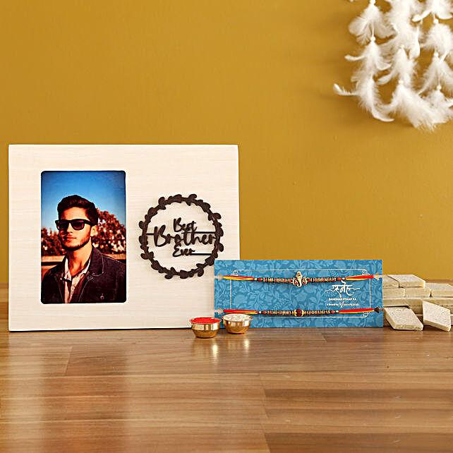 2 Holy Rakhis & Personalised Frame With Kaju Katli- Hand Delivery:Buy Ethnic Rakhi