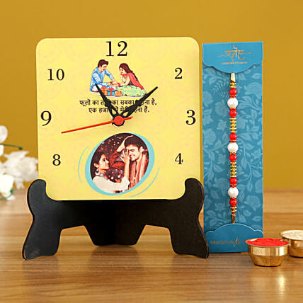 Pearl Rakhi & Personalised Table Clock- Hand Delivery