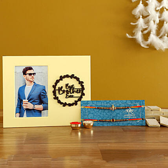 Rakhi Set With Personalised Frame & Kaju Katli- Hand Delivery
