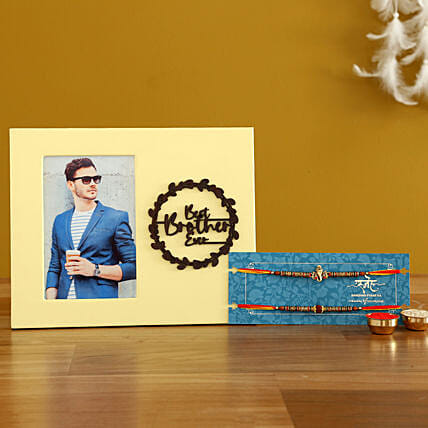 Set Of 2 Devotional Rakhis & Personalised Frame- Hand Delivery