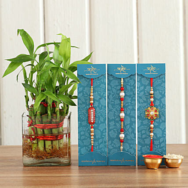 Beautiful Rakhis & Bamboo Plant