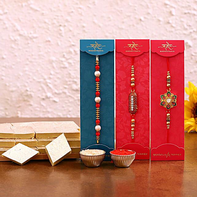 Designer Rakhi Set Kaju Katli