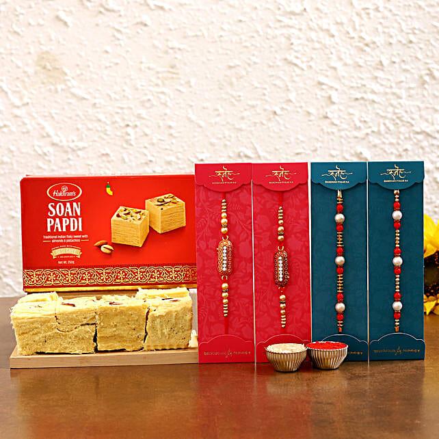 best traditional rakhi set with soan papdi combo