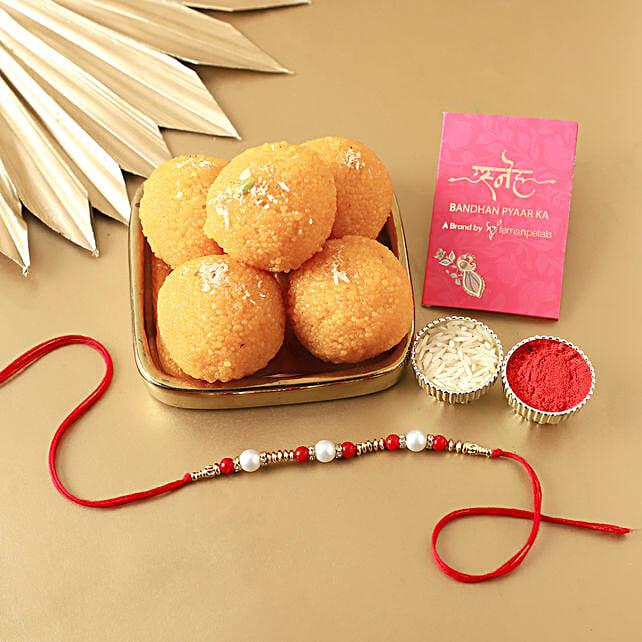 best pearl rakhi with sweet combo online