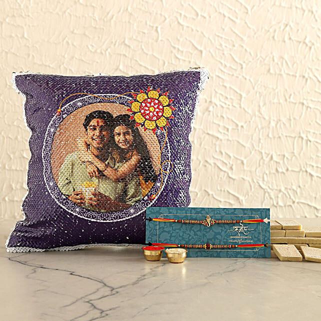 Rakhi Set and Personalised Sequin Cushion With Kaju Katli