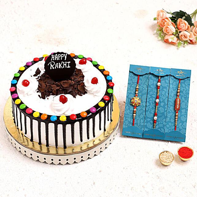 3 Pretty Rakhis N Black Forest Gems Cake