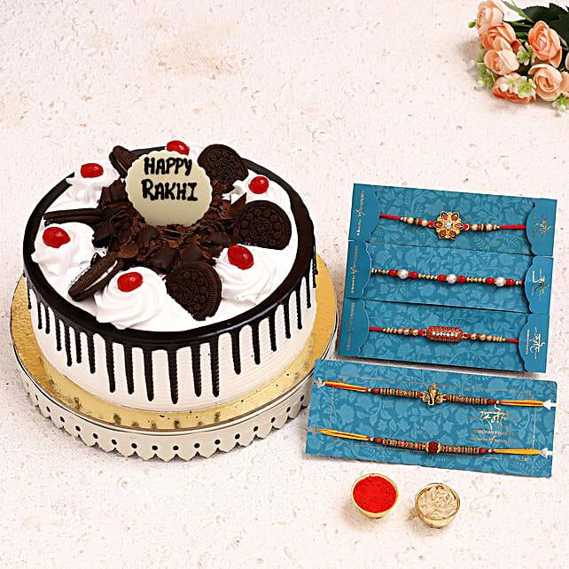 5 Ethnic Rakhis N Black Forest Cake:Order Rakhi with Cakes