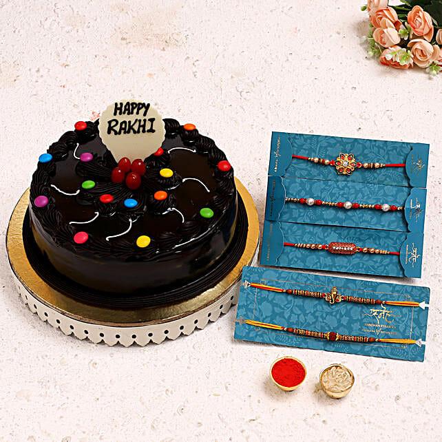 Set Of 5 Rakhis N Truffle Gems Cake