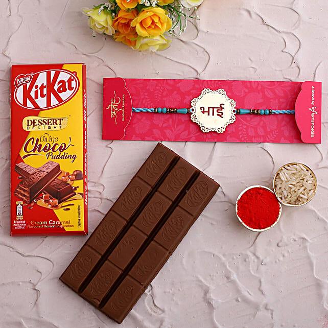 Metal Bhai Rakhi and Kitkat Choco Pudding