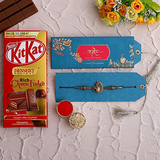 Peacock Rakhi and Kitkat Choco Fudge
