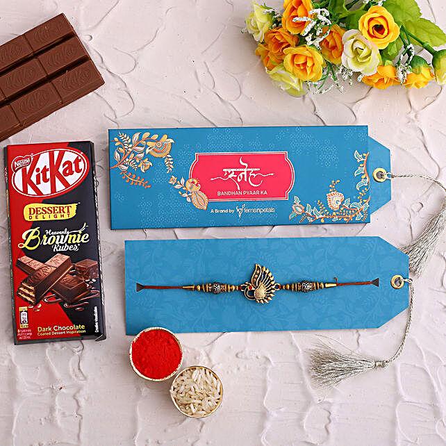 Peacock Rakhi and Kitkat Dark Chocolate