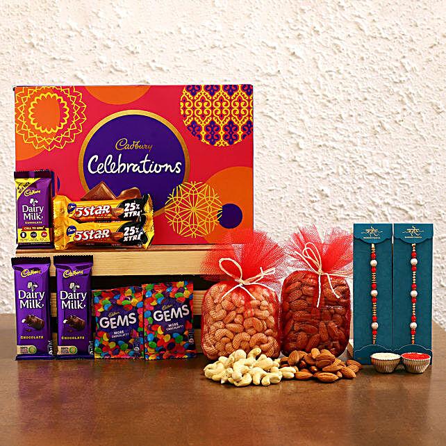 Set of 2 Pearl Rakhi With Celebrations N Dry Fruits