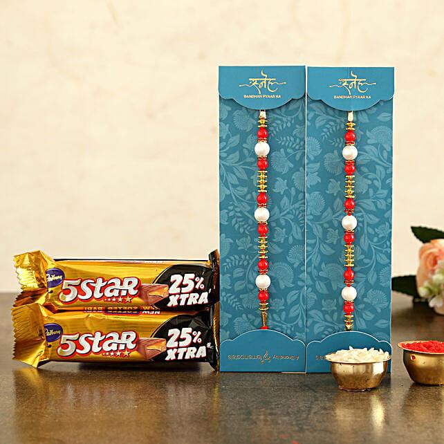 Pearl Rakhi Set & Five Star Chocolates
