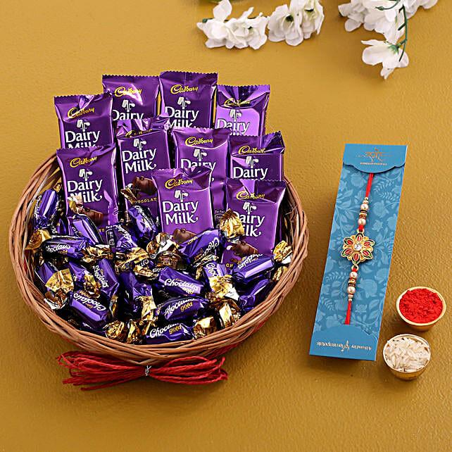 Single Meenakari Rakhi With Chocolate Basket