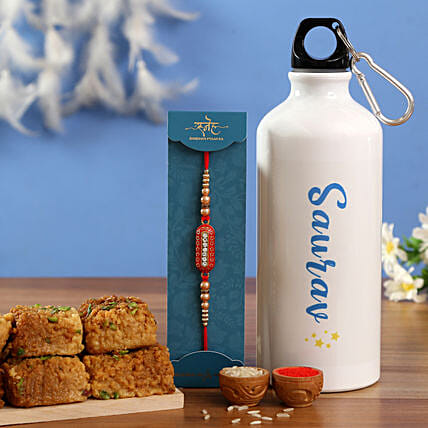 Capsule Rakhi and Personalised Bottle With Sweet Hand Delivery