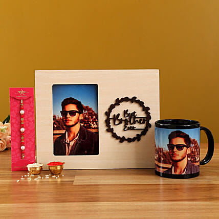 Pearl Rakhi and Personalised Frame With MugHand Delivery