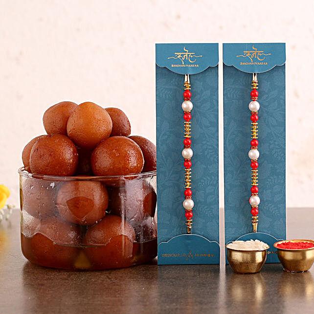 Pearl Rakhi Set and 2 Kg Gulab Jamun