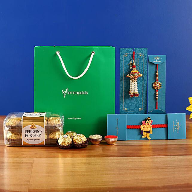 Set Of 3 Elegant Rakhis and Ferrero Rocher