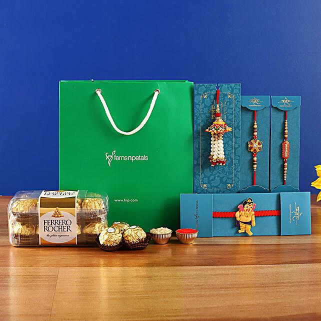 Set Of 4 Elegant Rakhis and Ferrero Rocher