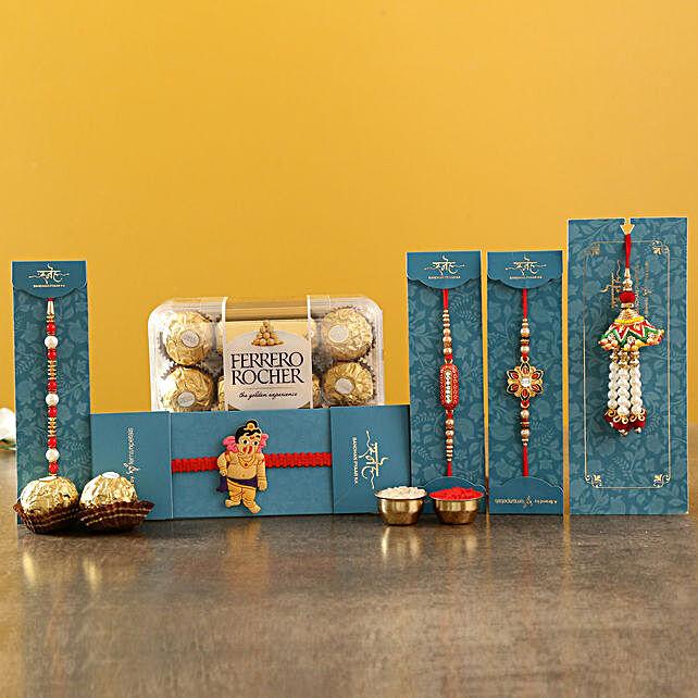 Set Of 4 Ethnic Rakhis and Ferrero Rocher