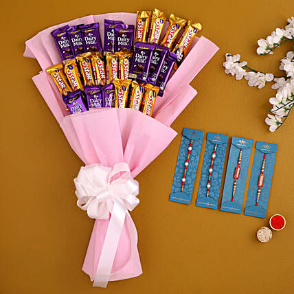 Set Of 4 Traditional Rakhi And Chocolate Bouquet