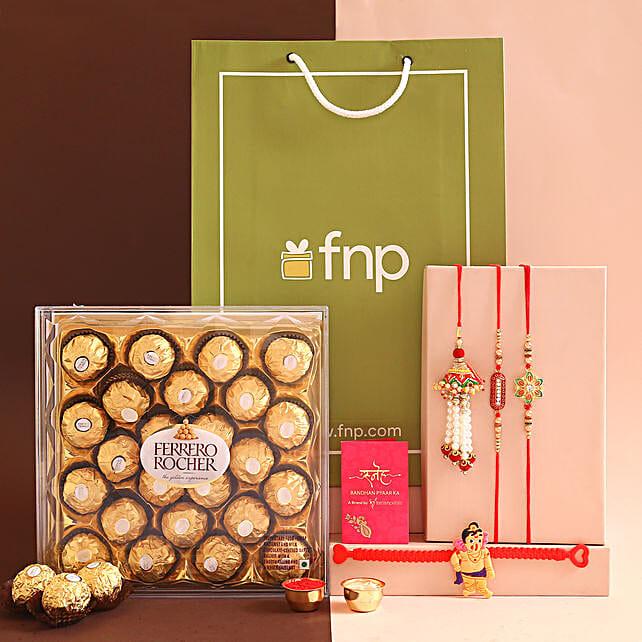 Set Of 4 Traditional Rakhis and Ferrero Rocher