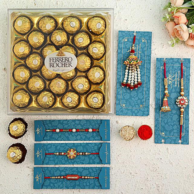 Set Of 6 Beautiful Rakhis and Ferrero Rocher