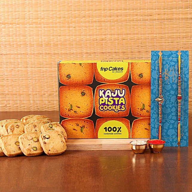 2 Auspicious Rakhi N Delicious Cookies Hamper