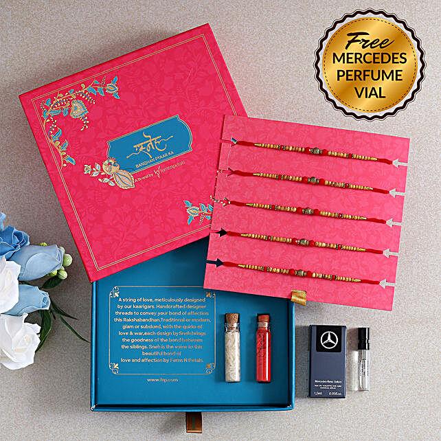 Set of 5 Wooden Beads Rakhi and Free Mercedes Benz Perfume