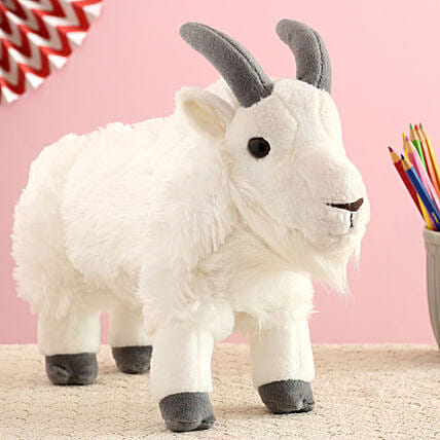 Wild Republic White Plush Mountain Goat Soft Toy:Soft Toy
