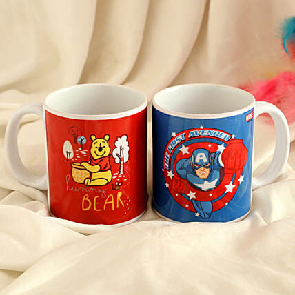 Pooh Bear and Captain America Mug Combo Hand Delivery:Disney Gifts