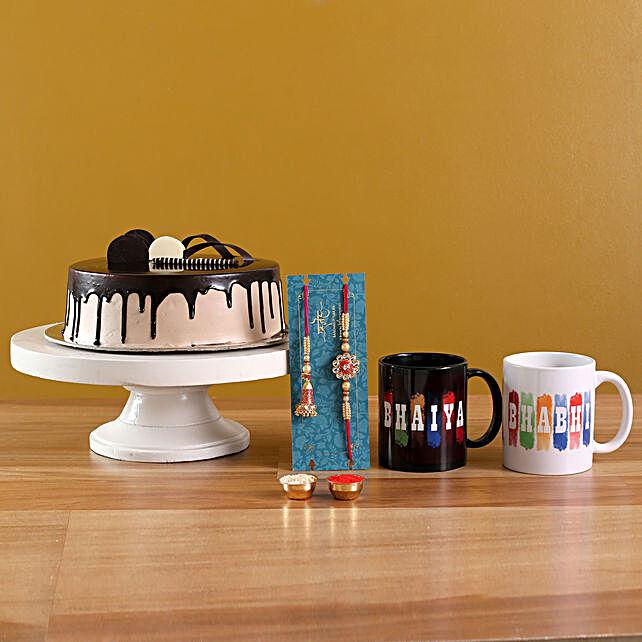Ethnic Lumba Rakhi Set N Chocolate Cake With Mugs