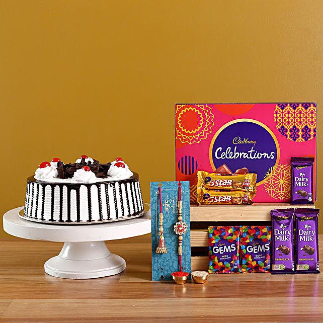 Lumba Rakhi Set N Black Forest Cake With Chocolates
